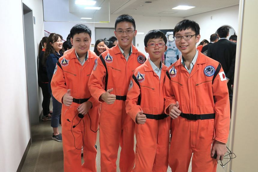 From left: Ethan Tan, Wang Hao Ming, Caleb Goh and Justin Chua of Hillgrove Secondary School during their visit to the Japan Aerospace Exploration Agency. Their idea for an experiment is the first one from Singapore to be chosen for the Try Zero-G fo
