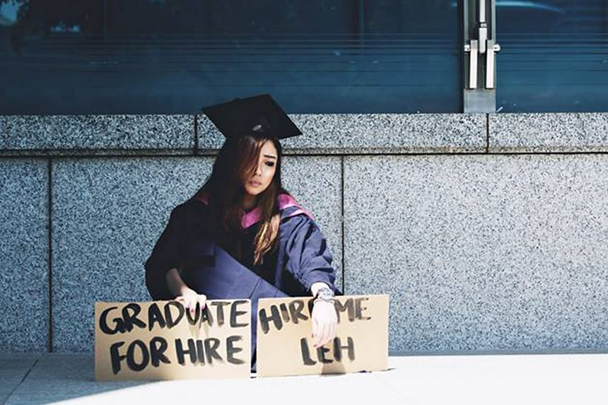 Ms Boon posing for a bleak graduation shot that struck a chord with many fellow graduates facing a tough job market.