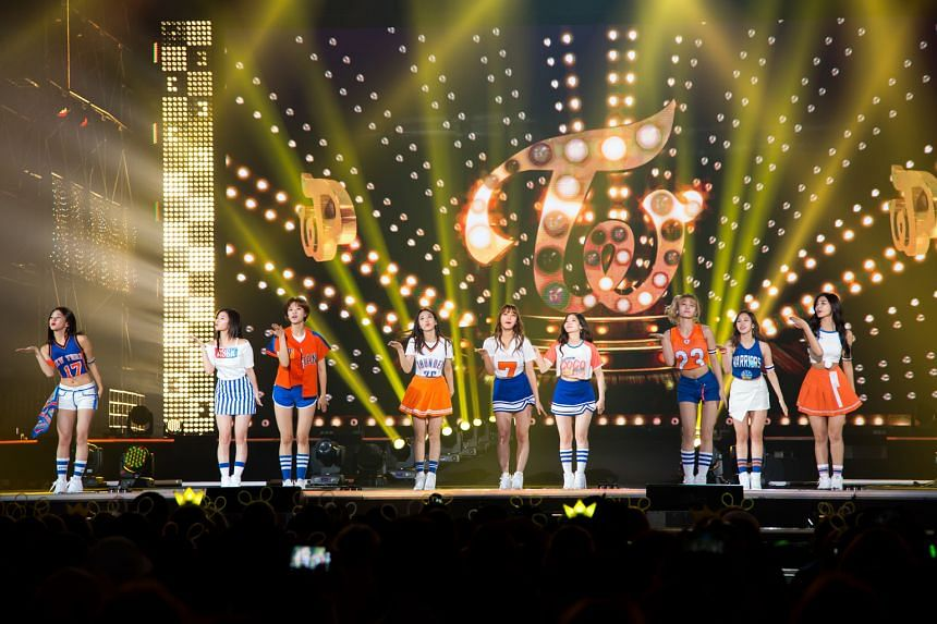 K-pop girl band Twice performing at Seoul's Gocheok Sky Dome stadium on Sept 8. The free concert was held to promote the Pyeongchang 2018 Winter Olympics.