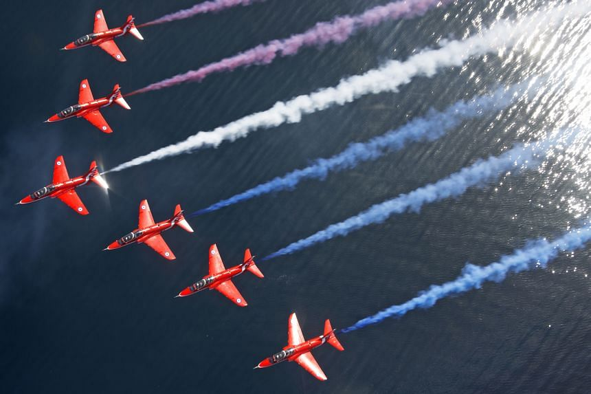 The Red Arrows are set to dazzle Singapore crowds after last thrilling fans more than a decade ago. The aerobatic team of Britain's Royal Air Force will soar high in the Singapore sky at noon on Oct 13 in a 30-minute flypast around the Marina Bay are