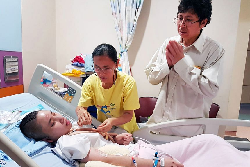 Aroonrak's mother, Mrs Jiranee, and father Sarayuth Jattanathammajit (both above) have flown in from Thailand and are at the hospital every day to be with their daughter. The 16-year-old has undergone two brain operations since the accident.