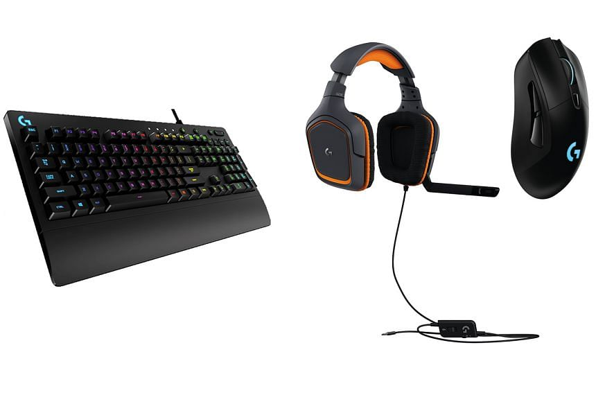 The Logitech G Prodigy series of gaming gear includes (from left) a keyboard with RGB lighting, the G231 headset and the G403 wireless mouse.