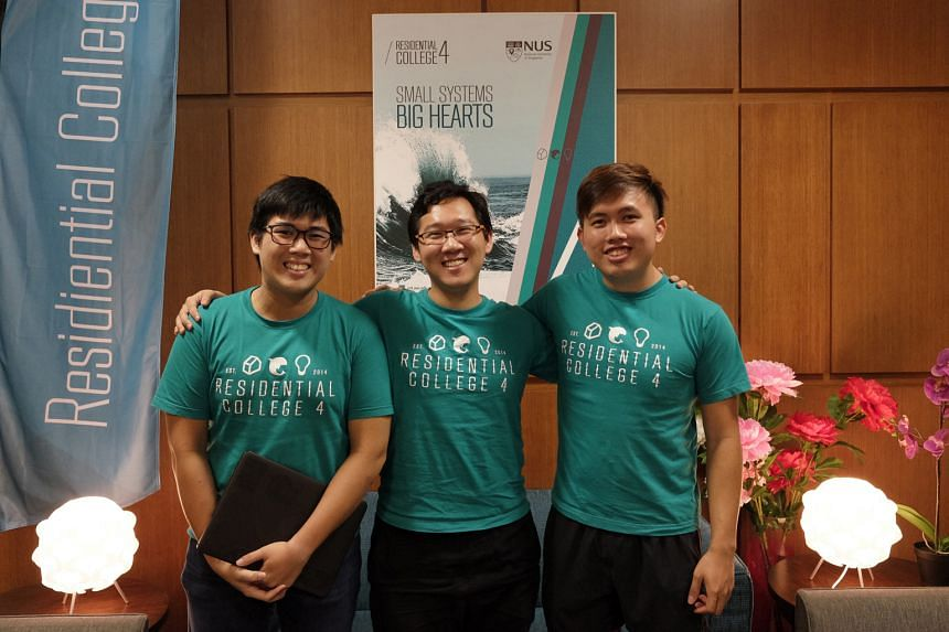 Undergradutes (from far left) Mr Yong, Mr Ten and Mr Teo, inventors of the College Laundry chatbot that streamlines doing laundry for the hundreds who live in their residential college.