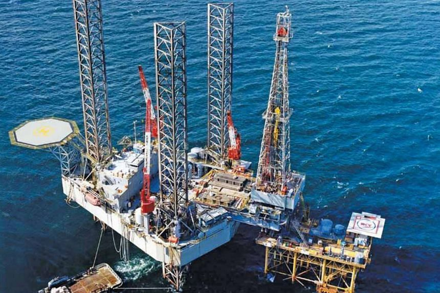 An oil rig belonging to Swissco. The rig and vessel chartering group has been hit by falling oil prices. Four of its seven drilling rigs are off-charter, while three that are currently out on hire have not been paid for by the charterer.