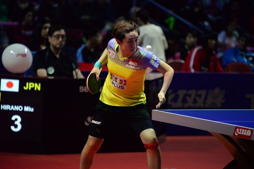 Feng Tianwei in action against Miu Hirano of Japan in the ITTF Women's World Cup semi-finals in Philadelphia yesterday (Sunday night US time). The world No. 6, who was the top seed, was beaten 4-2 by her 16-year-old opponent, who went on to win the t