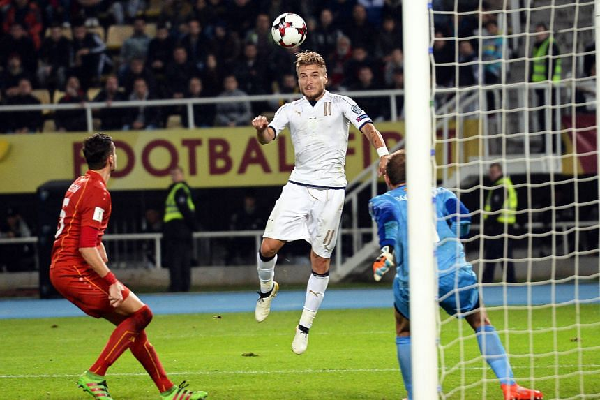 Ciro Immobile heading in the winning goal in stoppage time past Macedonia goalkeeper Martin Bogatinov to save Italy's blushes in the World Cup qualifier in Skopje. He had scored the equaliser after the Balkan minnows took a shock 2-1 lead.