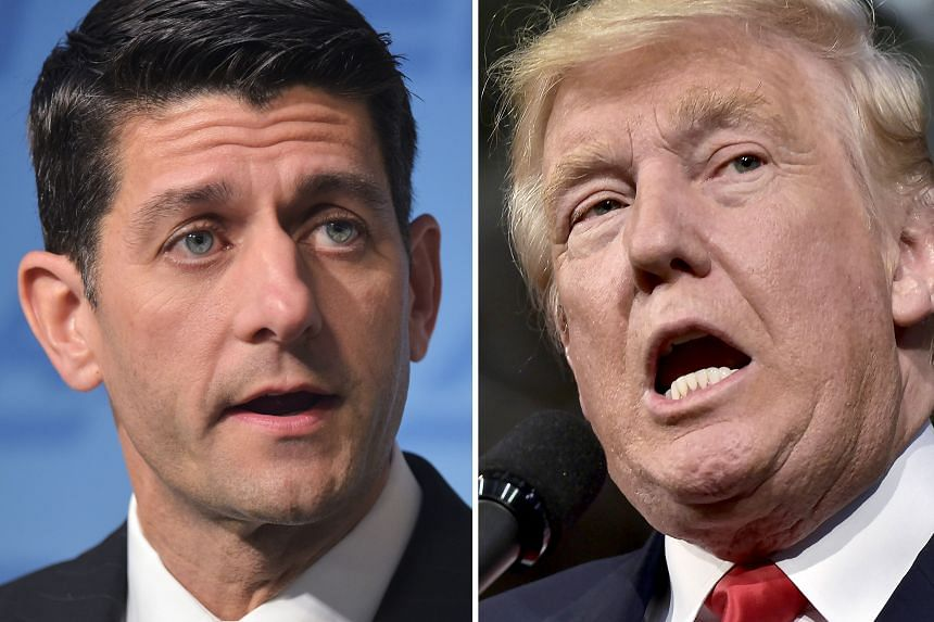 US House Speaker Paul Ryan (top) told Republican lawmakers on Monday that he would no longer defend Mr Trump (above).