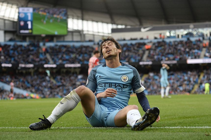 A frustrated Manchester City midfielder David Silva after another missed chance against a disciplined Southampton side. Pep Guardiola's team have not won in five games in all competitions.