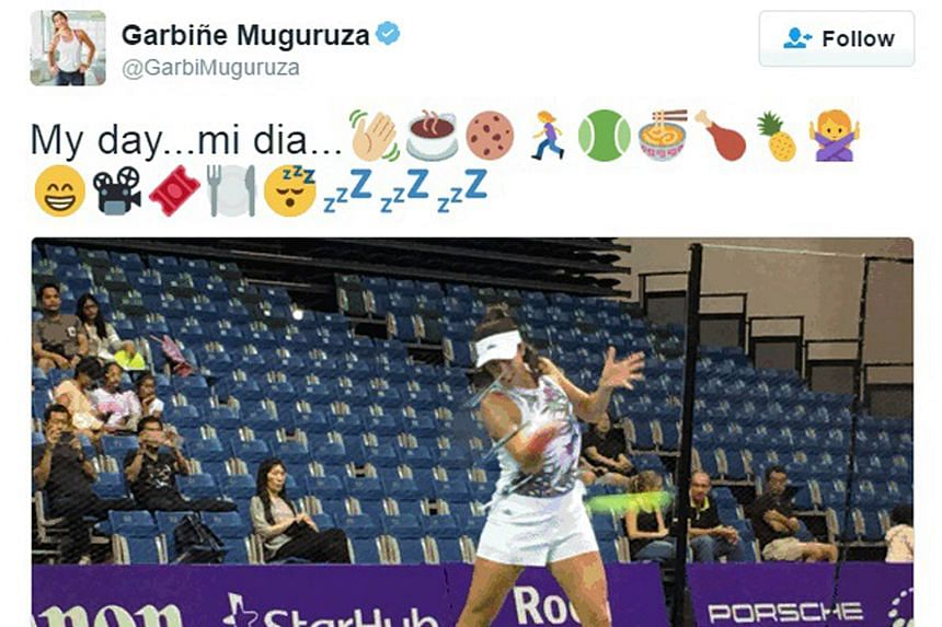 Judging by the emojis used in her tweet, Spaniard Garbine Muguruza's day yesterday likely included some cookies, tennis practice, and even a movie.