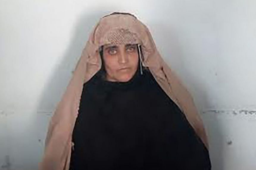 Top: Sharbat Gula, seen in a photo released by the FIA. She has been arrested for fraud. Above: An image of her, taken as a 12-year-old, became the most famous cover for National Geographic magazine.