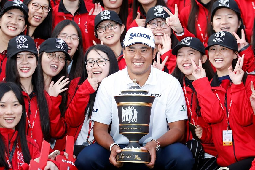 """Japan's Hideki Matsuyama celebrates a historic win at the WGC-HSBC Champions in Shanghai, an event that has been dubbed as """"Asia's Major"""". He won by seven strokes."""