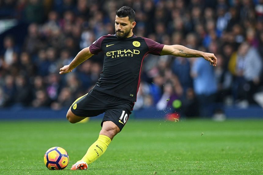 Manchester City's Sergio Aguero shooting during his two-goal performance in the first half against West Bromwich Albion on Saturday. He also set up a goal for Ilkay Gundogan in the 4-0 win.