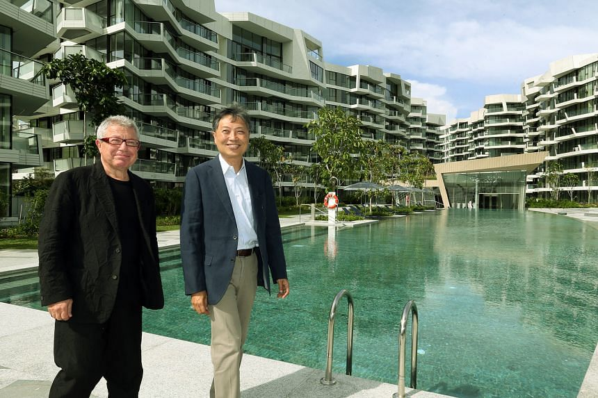 Keppel Land's general manager of marketing Albert Foo and Mr Daniel Libeskind, the architect for Corals at Keppel Bay (above) and its sister development, Reflections at Keppel Bay. The developer began handing over units at Corals at Keppel Bay to buy