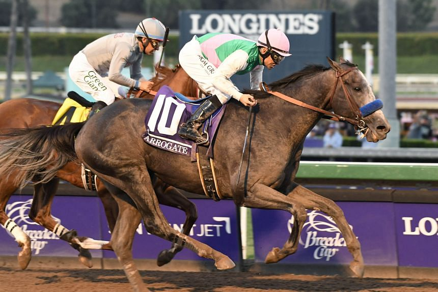 Arrogate and jockey Mike Smith overhauling California Chrome to win the Breeders' Cup Classic by half a length. He made up a deficit of seven lengths entering the final straight.
