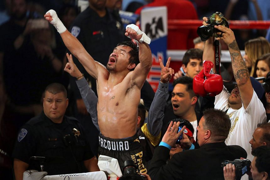 Filipino boxing legend Manny Pacquiao, an eight-division world champion, celebrating his unanimous victory over Jessie Vargas in their WBO welterweight title fight at the Thomas & Mack Centre in Las Vegas last Saturday.