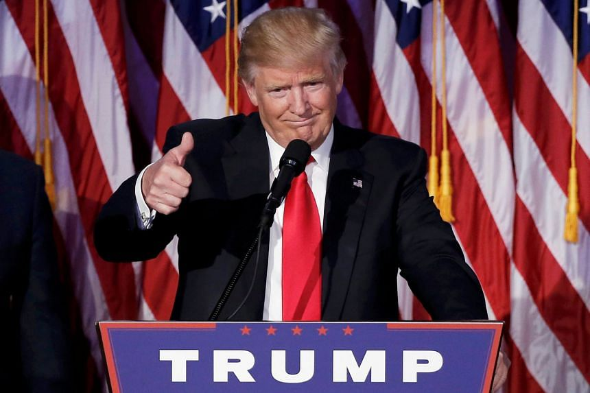 Mr Trump praised Mrs Clinton, promised to unify the country and abandoned all the name-calling that had been a trademark of his campaign during his victory speech in New York City yesterday.