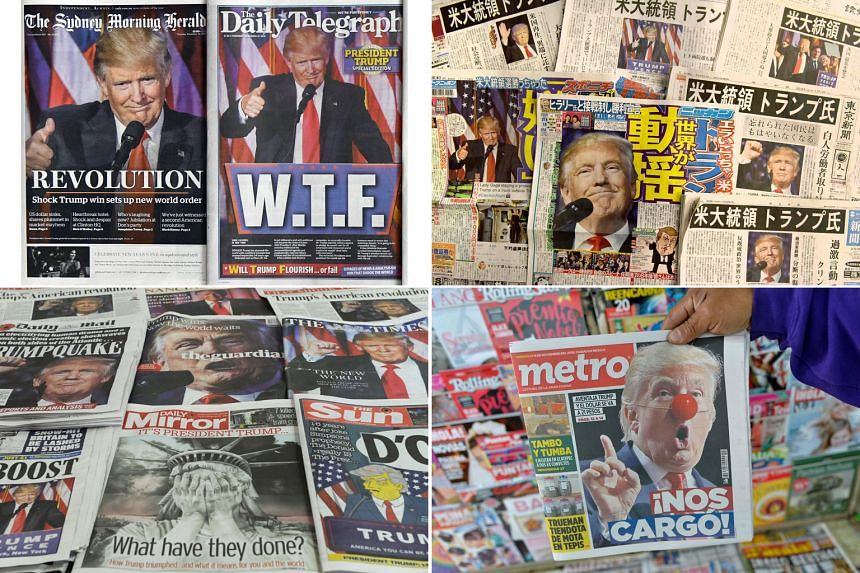Mr Trump's victory in the US presidential election was front-page news around the world yesterday. There has been concern about what direction he will take in foreign policy after he trash-talked US alliances during his acrimonious election campaign
