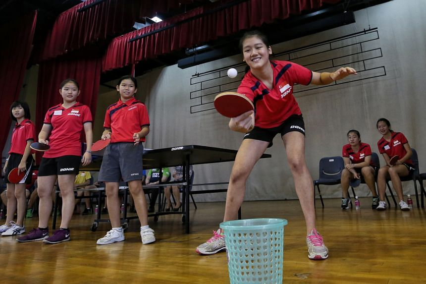 The SEA Junior Table Tennis Championships team, who won 10 golds, five silvers and six bronze medals at the 22nd South-east Asian Junior Table Tennis Championships last month, visited Nanyang Primary School yesterday. Apart from sparring sessions and