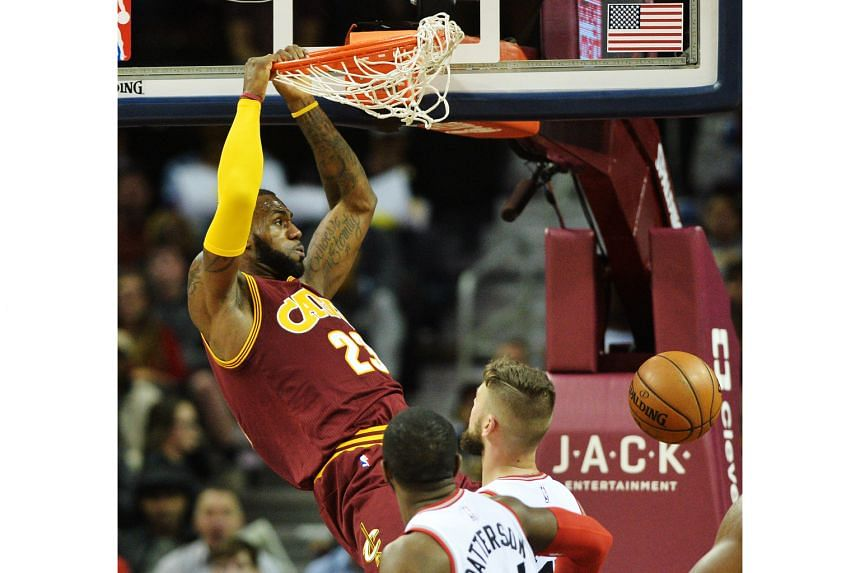 Cleveland Cavaliers forward LeBron James dunking in the second half of their 121-117 win over the Toronto Raptors. The star praised team-mate Channing Frye for his great play both in offence and defence.