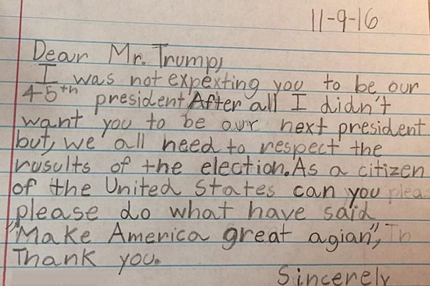 Some of the letters from children on the Facebook group called Dear President Trump: Letters From Kids About Kindness.