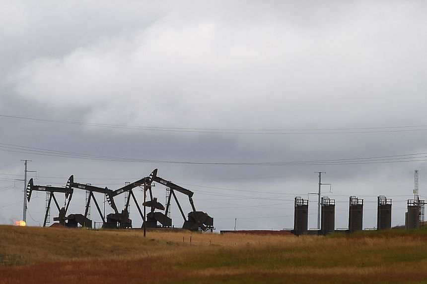 Pump jacks on the Bakken Shale Formation in North Dakota. Mr Trump's pro-business policies could reduce red tape and facilitate the completion of key infrastructure projects, thus supporting US oil producers. This could, in turn, dampen oil prices. B