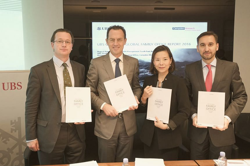 Presenting the latest Global Family Office Report are (from left) Campden Wealth CEO Dominic Samuelson, and UBS' Mr August Hatecke (head, wealth management, South-east Asia), Ms Patricia Quek (country team head, Ultra High Net Worth Singapore and Glo