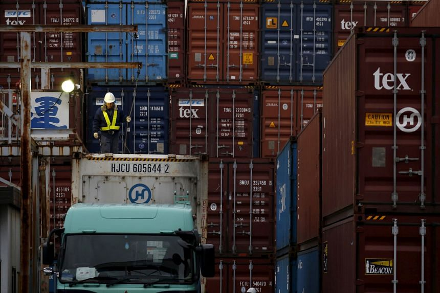 A container area in a port in Tokyo, Japan. Shipments to Asia, which account for more than half of Japanese exports, fell 9.9 per cent last month from a year earlier, marking a 14th month of declines.