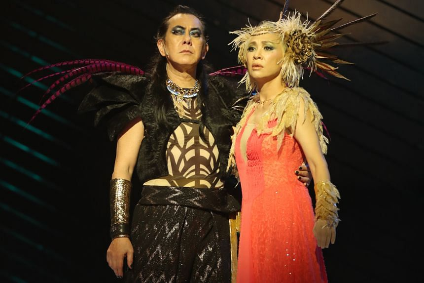 Actors Anthony Wong and Candice Yu (both above) as King Oberon and Queen Titania in A Midsummer Night's Dream. The production by Dionysus Contemporary Theatre is part of the Esplanade's Huayi – Chinese Festival of Arts next year.