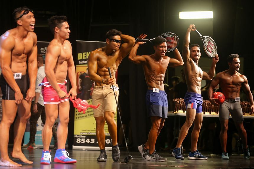 Participants in the Men Sports Model Short (under 24 years and below 1.72m) showing off their chiselled forms at the National Amateur Bodybuilding Association's World Fitness Federation Singapore Physique Championship held at *Scape on Sunday. Alan K