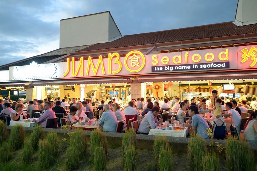 Diners at the Jumbo Seafood restaurant at East Coast Park, one of Jumbo's 15 eateries in Singapore. It also has three restaurants in China.