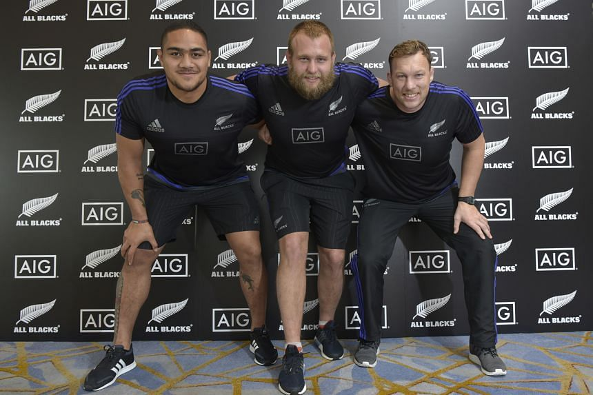 From left: All Blacks props Ofa Tu'ungafasi, Joe Moody and Wyatt Crockett ahead of the launch of the Why AIG campaign yesterday. The trio are upbeat about the state of the sport, especially England's potential challenge to their 18-match win record.