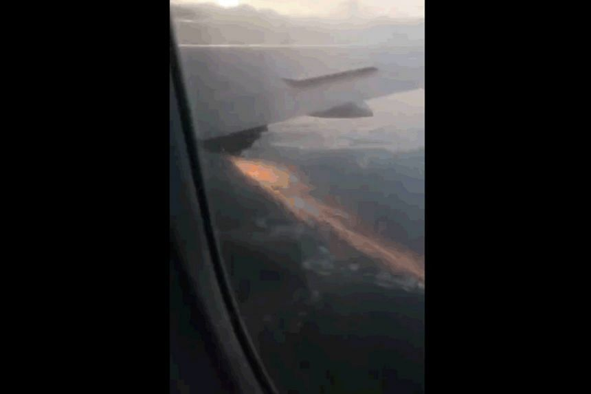 A post showing sparks from the right wing engine of the Boeing 787 Dreamliner. Scoot has launched an investigation.