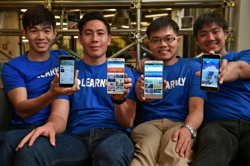 The team behind Learnly (from left): Mr Nah Yi Feng, Mr Albert Puah, Mr Joel Khoo and Mr Foo Chuan Yue. ManyTutors' co-founder Lai Weichang (right) and chief technical officer Jason Tan with the tuition agency's Ask.ManyTutors app. Questions uploaded