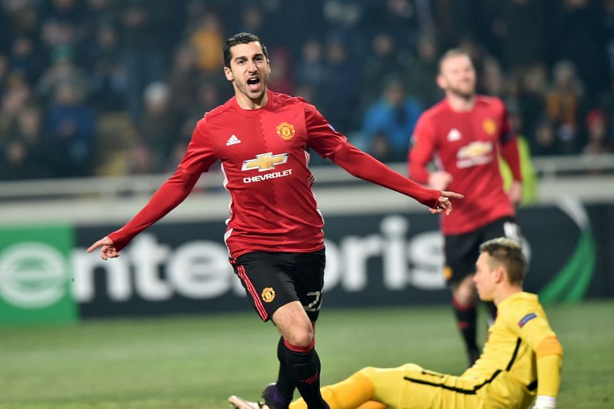 Midfielder Henrikh Mkhitaryan celebrates his first Manchester United goal during the Europa League match against Zorya Luhansk. He opened the scoring in the 48th minute and Zlatan Ibrahimovic sealed the 2-0 win in the 88th minute.