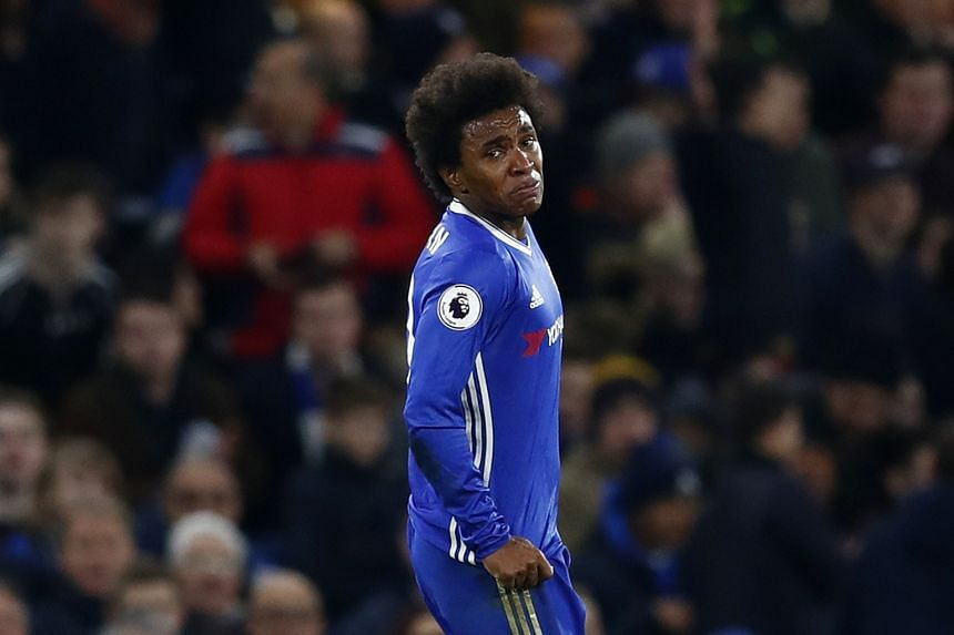 Willian (above) scored Chelsea's second and fourth goals in the 4-2 win. The midfielder broke down in tears after his first goal - two months after the death of his mother.