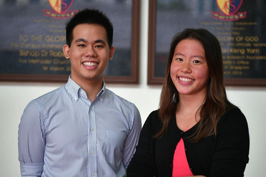 ACS(I) students Andrew Lim and Rachel Tseng, both 19, are among the top scorers in their school. Mr Lim had a perfect score of 45, while Ms Tseng, who had to juggle her studies with swim training, had 43 points.