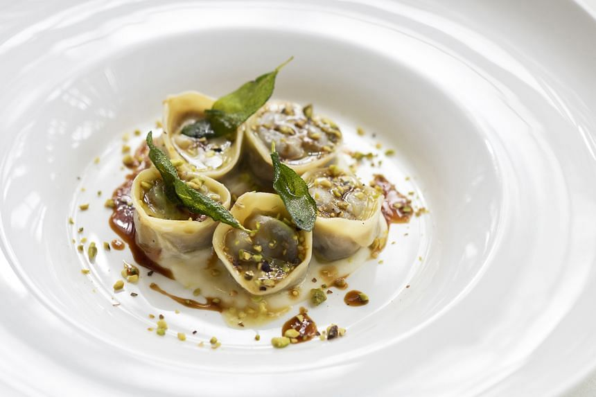 Handmade agnolotti (above), filled with 12-hour marinated oxtail, celeriac puree and Sicilian Bronte pistachios