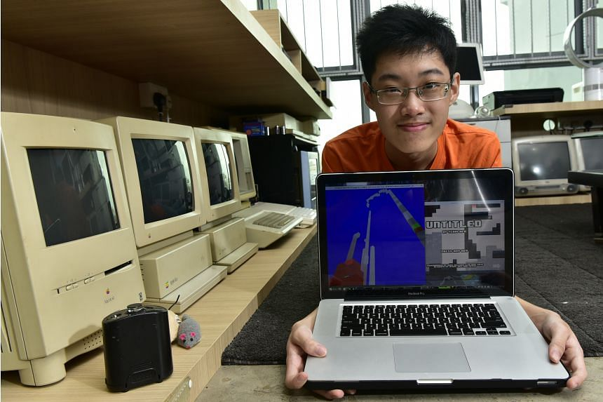 Lim Ding Wen, who wants to become a professional game developer, with a game he is now designing.