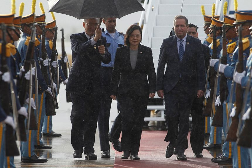 Taiwan President Tsai Ing-wen with Honduran Vice-President Ricardo Alvarez after her arrival in Honduras on Sunday. Her meetings with US officials, en route to Central America for a nine-day trip to visit allies Honduras, Guatemala, El Salvador and N