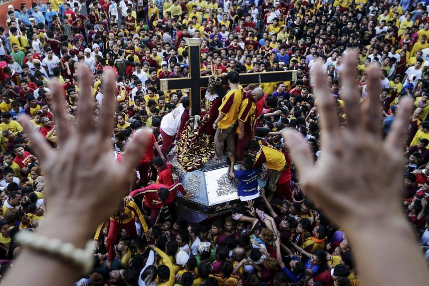 The statue of the Black Nazarene - a life-sized, cross-carrying statue of Jesus Christ carved from dark mesquite wood - creates a frenzy in the Philippines, where four in five are Catholics, as it is believed to perform miracles.