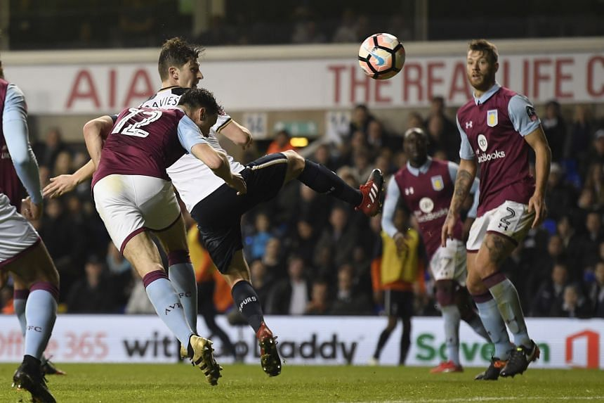 Tottenham's Ben Davies scoring against Aston Villa in their FA Cup clash. It was his first goal for Spurs since joining from Swansea City three years ago.