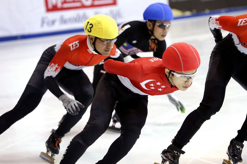 Singapore's Lucas Ng getting an edge on his Indonesian and Malaysian rivals during last weekend's MapleZ South-east Asian Short Track Trophy. He won all his three events, and will be favoured to have a successful SEA Games outing.