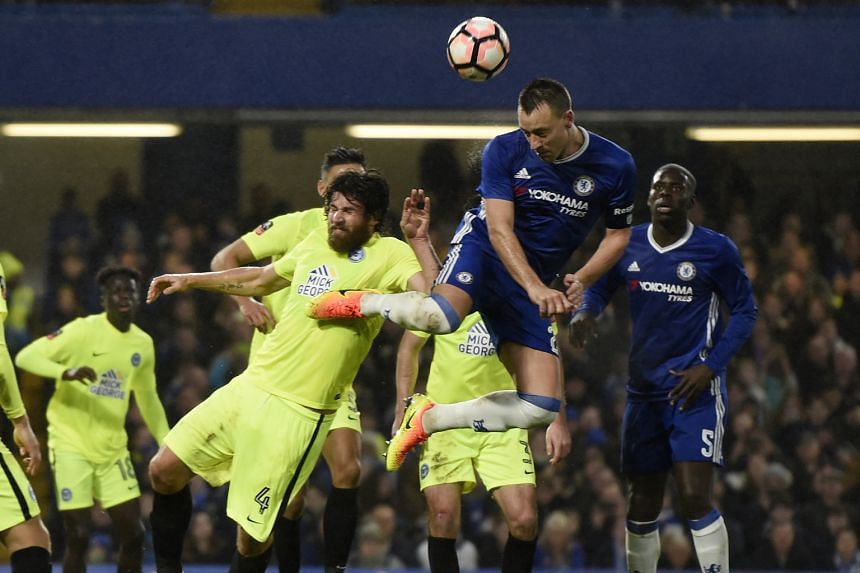 John Terry, making an attempt at goal, failed to impress on a rare start for Chelsea. He was sent off for taking down Peterborough's Lee Angol in the Blues' 4-1 FA Cup third-round win.