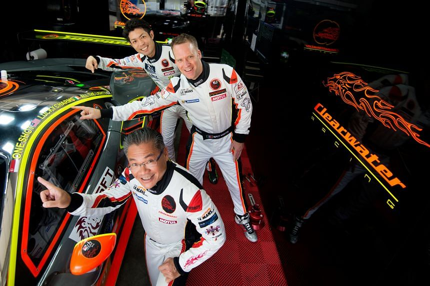 Clearwater Racing drivers (from front) Mok Weng Sun, Matt Griffin and Keita Sawa with the Ferrari 488 GT3 they are using in the Asian Le Mans Series. They will know next month if the team are accepted for the prestigious World Endurance Championship.