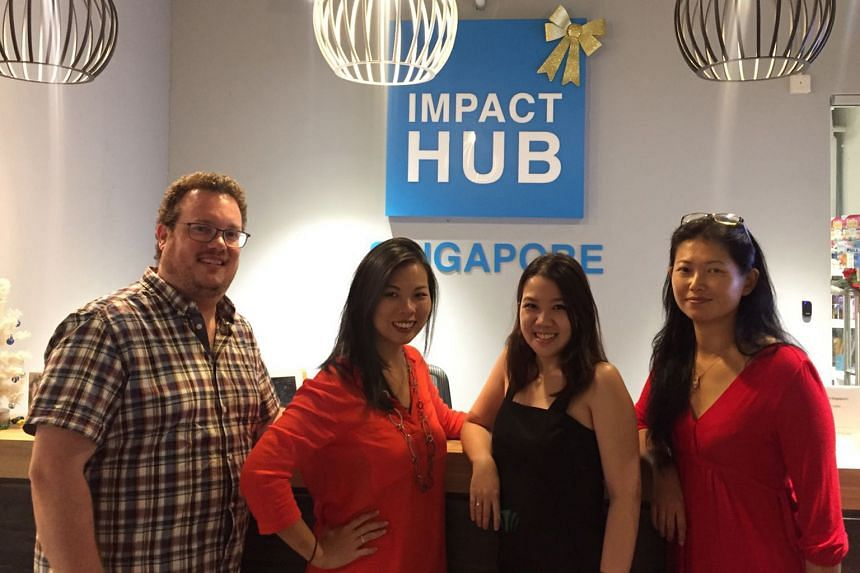 Members of the investment team of the Hub Ventures Fund include (from left) Mr Michael Blakey, Ms Grace Sai, Ms Germaine Inez Tan and Ms Huang Shao-Ning. The Hub is the first co-working space here to launch such a fund.
