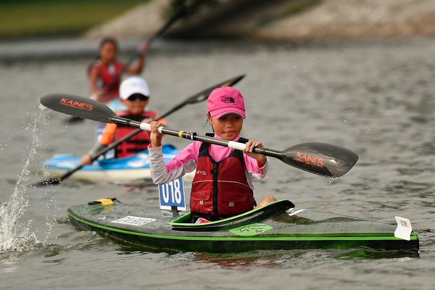 A record 800 competitors took part in the Singapore Canoe Marathon yesterday at the Singapore Sport Hub's Water Sport Cenre. Organised by the Singapore Canoe Federation, the event featured 44 categories. Liaw Ann Lin, 11, was among those who took par