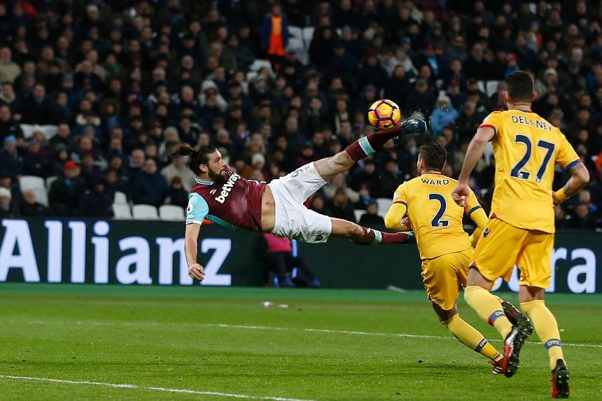 Andy Carroll scoring with a volley in the 79th minute to give West Ham a 2-0 lead over Crystal Palace. The Hammers won 3-0.