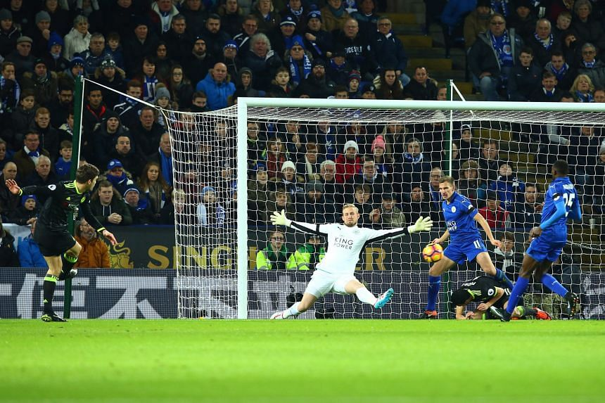 Chelsea wing-back Marcos Alonso shoots his side into a sixth-minute lead at the King Power Stadium. He doubled the advantage in the 51st minute before Pedro rounded off a 3-0 win over Leicester City.