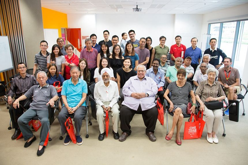 Singaporean Olympians past and present at a gathering at the Singapore Sports Institute on Saturday. Former water polo player Tan Eng Liang, the Singapore National Olympic Council vice-president who is also Olympians Singapore president, was joined b