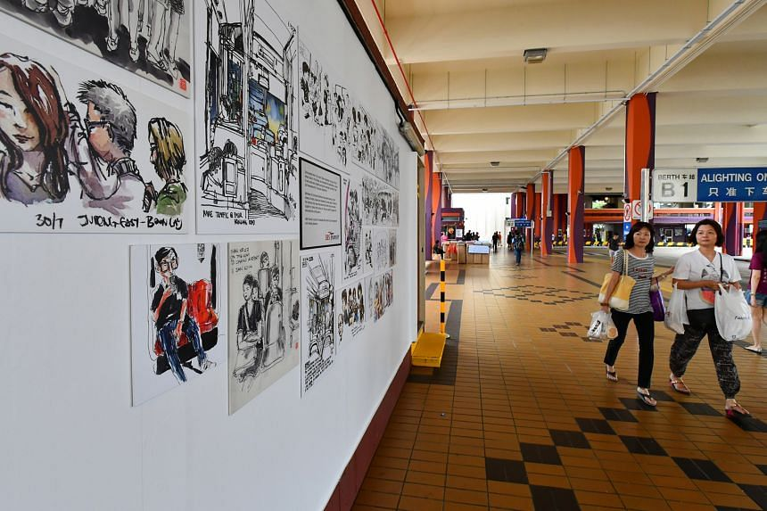 The bus interchange in Bishan is one of the display venues for the sketches (above and left), done during the artists' commutes.